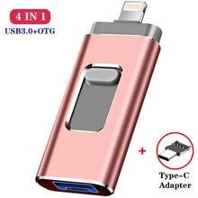 Memoria USB 4 en 1 multifunción, 32GB OTG, micro USB, Pendrive de 64GB y 128GB, unidad tipo c para iphone, ipad, pc y teléfono Android