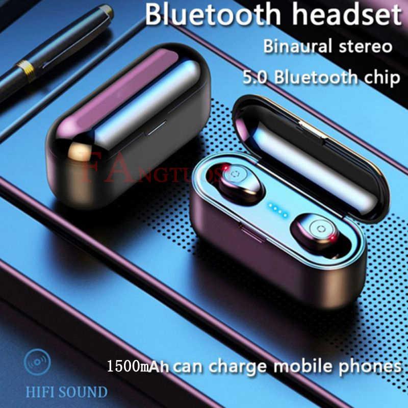 FANGTUOSI auriculares Bluetooth inalámbricos HBQ Bluetooth 5,0 auriculares estéreo 3D deportivos manos libres auriculares con caja de carga de micrófono