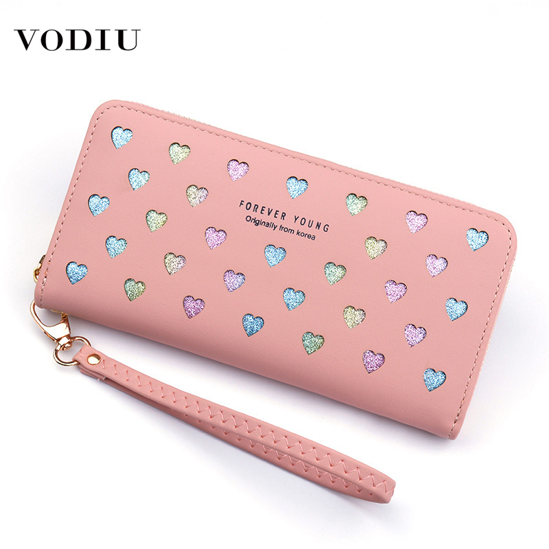 2019 New Women's Wallet Leather Ladies Long Zipper Large Capacity Mobile Phone Bag Wild Love Color Hollow Card Holder Wallets
