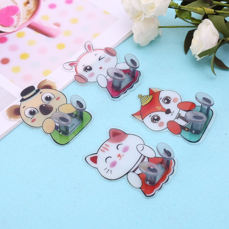 Cartoon Multifunction Finishing Plug Holder Hanger Sticky Hooks Organizer Rack D5BD