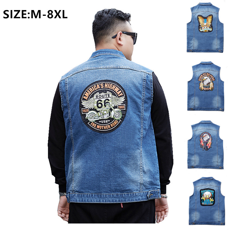 Sleeveless Jeans Jacket Men Coat Vest Man Denim Cool Plus Size 6XL 8XL Jean Cowboy Embroidery Blue Slim Fit Spring Autumn Vests