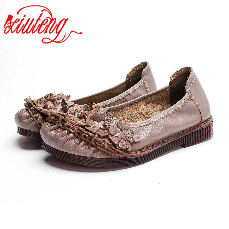 Women Flat Shoes Leather Casual Red