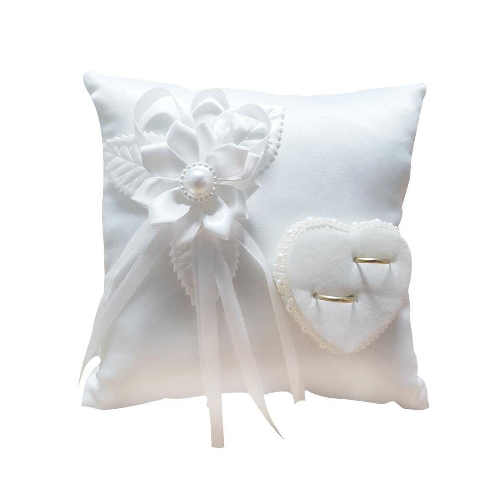 Stylish Wedding Ring Pillow Romantic White Square Flower Ring Camellia Heart Shaped Cushion Marriage Supplies for Wedding #4O