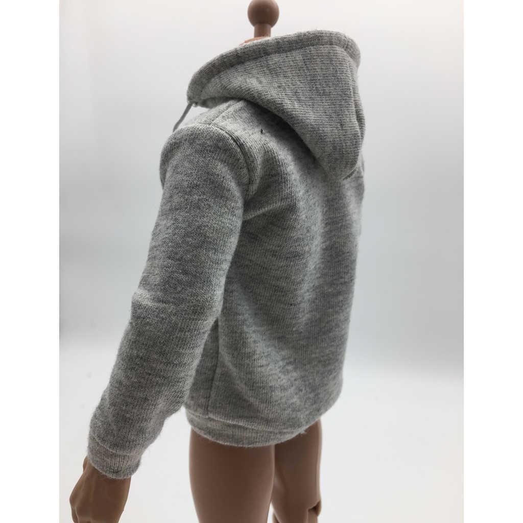 1/6 Schaal Heren Man Grijs Zip Up Hoodie Sweatshirt Kleding Voor 12 Inch Action Figure Mannelijk Lichaam Hot Speelgoed Accs
