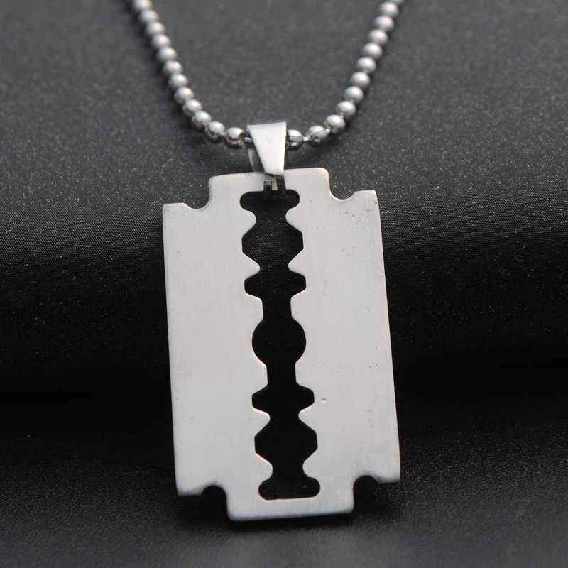 Stainless Steel Safety Blade Razor Pendant Necklace Punk Hiphop Jewelry for Men Boys