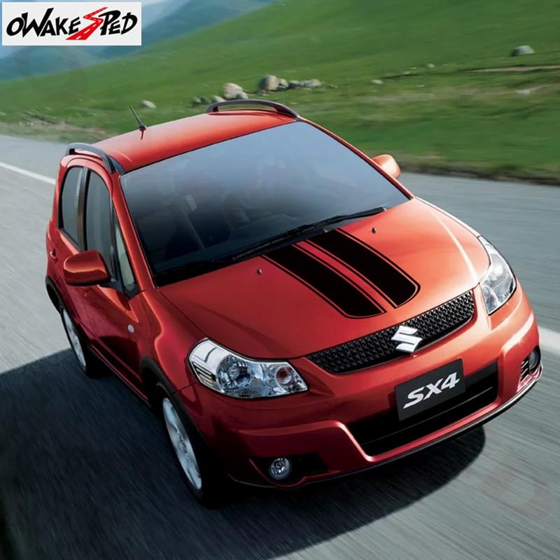Auto Hood Cover Engine Bonnet Decor Stickers Sport Stripes Sticker Vinyl Body Decals For Suzuki SX4 2008-2018 Car Styling