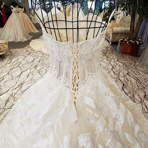 Image 5 - LS74521 Luxe Trouwjurken 2020 Strapless Mouwloze Lace Up Backless Baljurk Kralen Echte Foto