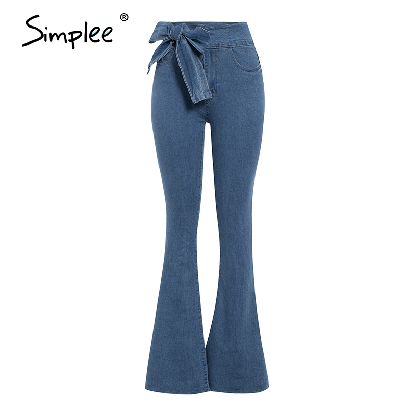 Simplee Streetwear Denim  Women Flare Pants Jeans High Waist Zipper Slim Female Trousers Spring Casual Ladies Pants Bottoms 2020
