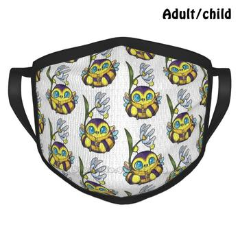 Bumble Puffling Custom Design Face Mask For Adult Kids Anti Dust Puff Monster Puffling Puff Bee Bumblebee Flower Monster Cute image