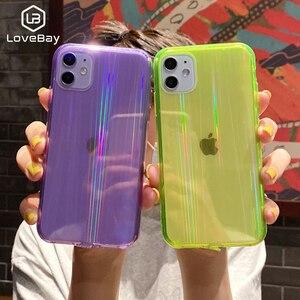 Lovebay модный полупрозрачный чехол с лазерным узором для iPhone 11 Pro Max XR Xs Max X 7 8 Plus SE 2020 Мягкий ТПУ флуоресцентный чехол новый