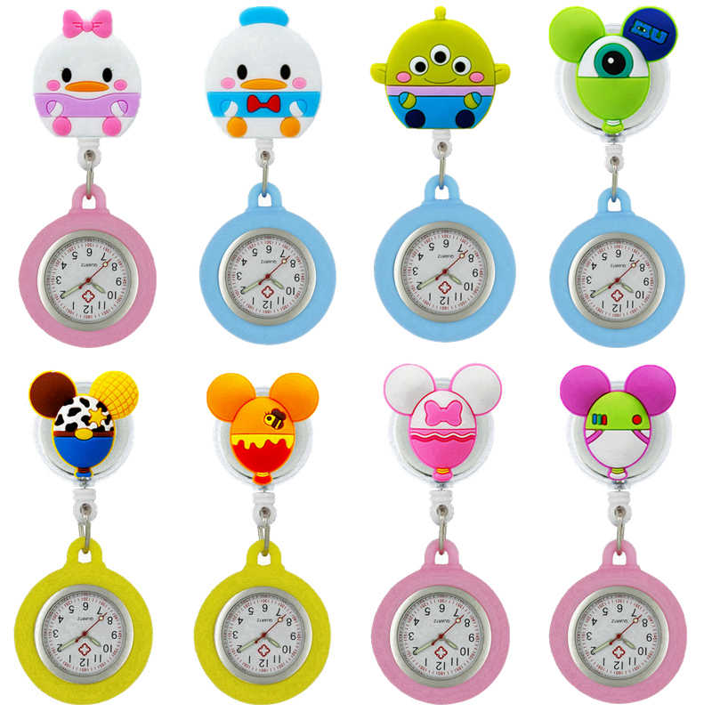 Lovely Fashion cartoon animal Retractable scalable rubber badge reel nurse pocket watches ladies women doctor Medical watches
