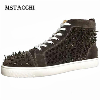 MStacchi New Fashion Spiked Men Casual Shoes Genuine Leather Rivet Lace-Up Flat Male Loafers Outdoor Walking Motion Men Sneakers