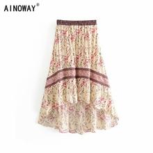 Vintage chic yaz moda kadınlar çiçek baskı plaj Bohemian etek yüksek elastik bel Maxi düzensiz A Line Boho etek Femme