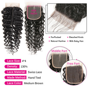 Image 4 - Ali Grace Brazilian Deep Wave Bundles With Closure 3 Bundles Human Hair Deep Wave with Swiss Lace Closure Remy Hair Deep Wave