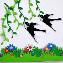 Paquet de tissu en feutre Non tissé en osier hirondelle, pâte murale d'oiseau de maternelle, école, bricolage, artisanat, décoration de journal