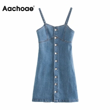 Aachoae Spaghetti Strap Denim Dress Women Streetwear A Line Button Up Dress Female Sexy Sleeveless S