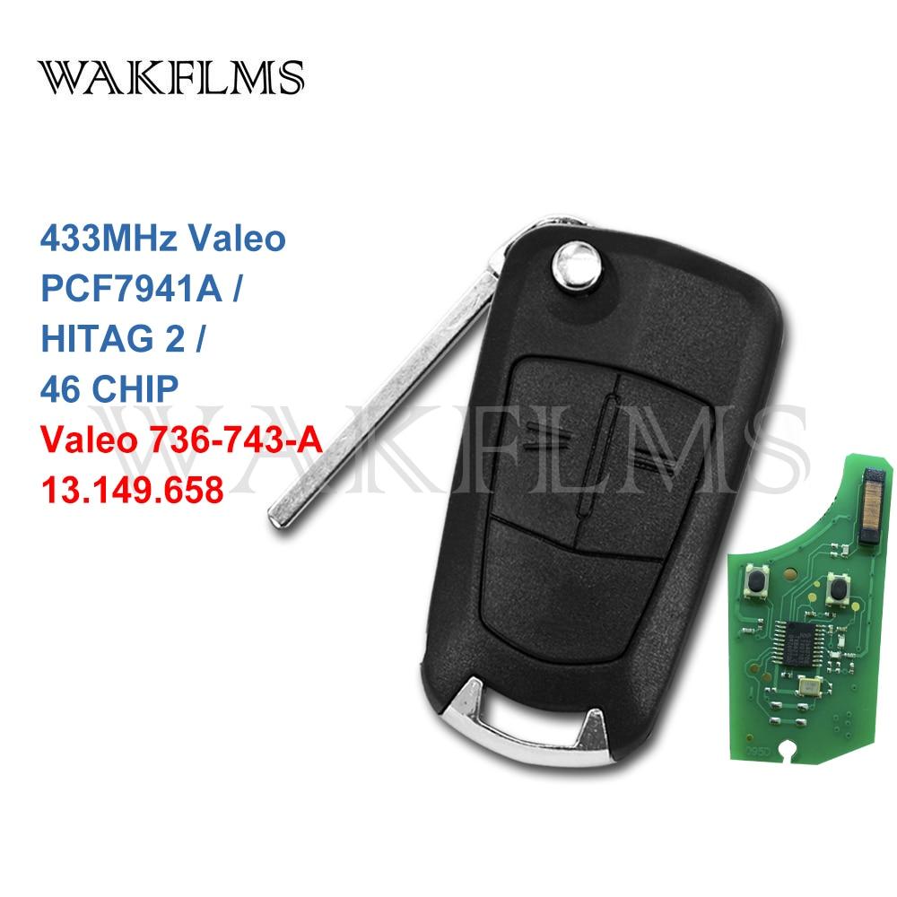 2-кнопочный Автомобильный Дистанционный ключ 433 МГц Valeo для Opel/Vauxhall Astra H Zafira B 2004 -2013 с чипом PCF7941A HITAG 2 46 Valeo 736-743-A