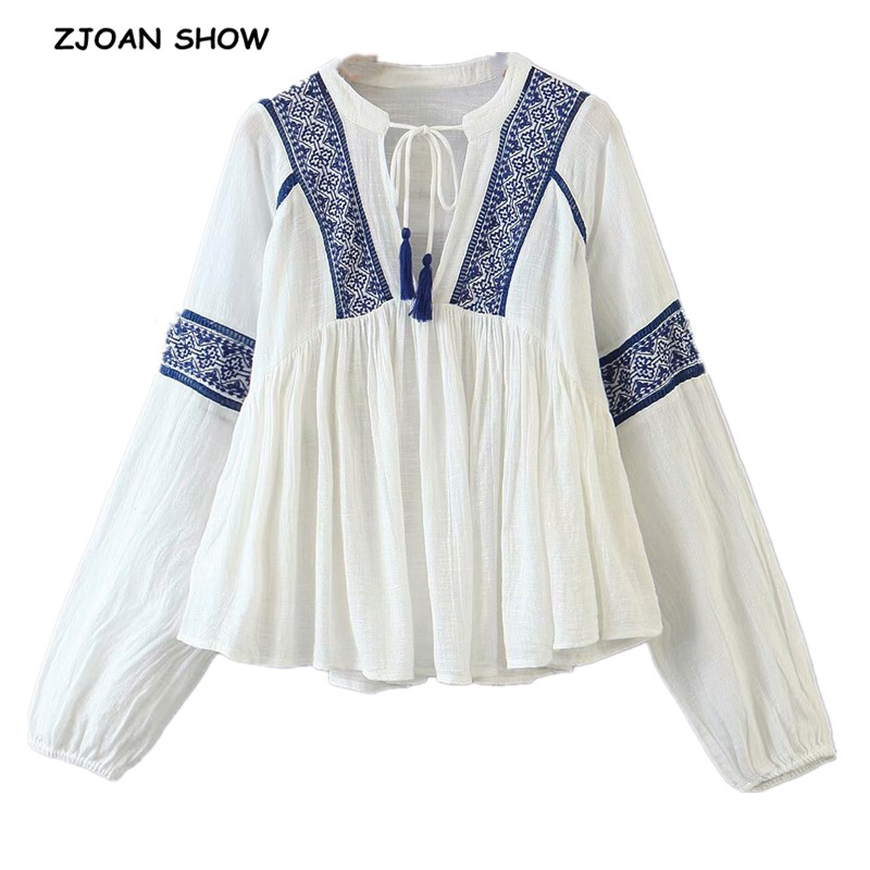 Autumn Women Bohemian Pullover Embroidery Shirt Ethnic Long Sleeve V-Neck Lacing Up BOHO Blouse Holiday Tops Femme Blusas White