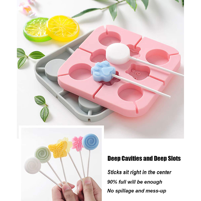 Cute Silicone Lollipop Molds, Hard Candy Mold With 20pieces Paper Candy Sticks, Health and Zero Wast, Baking DIY for Kids