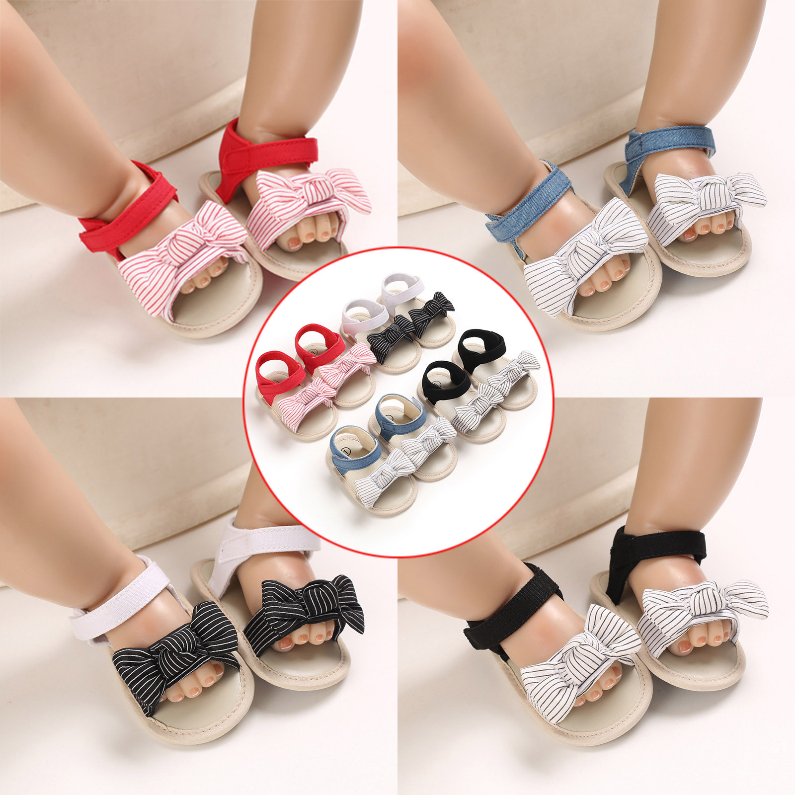 2021 New Baby Sandals Shoes Toddler Infants Girls Striped Bow Soft Non-Slip Rubber Sole Flat Walking Shoes Newborn Girl Sandals
