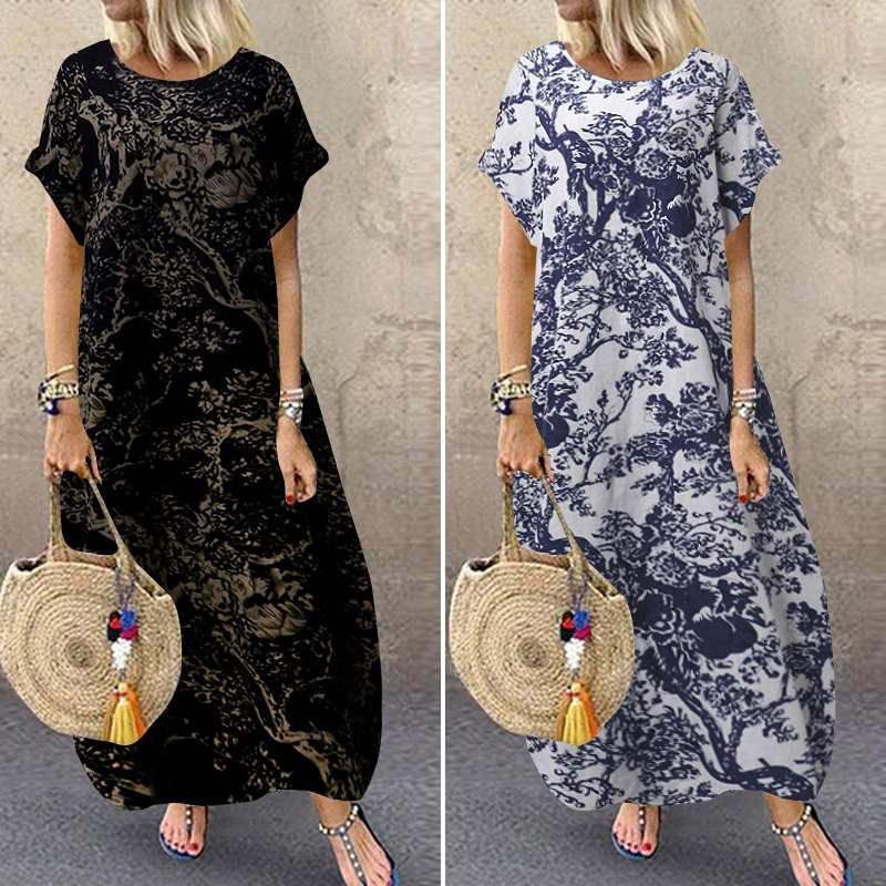 ZANZEA 2020 Stylish Printed Maxi Dress Women's Summer Sundress Short Sleeve Vestidos Female O Neck Casual Robe Femme Plus Size