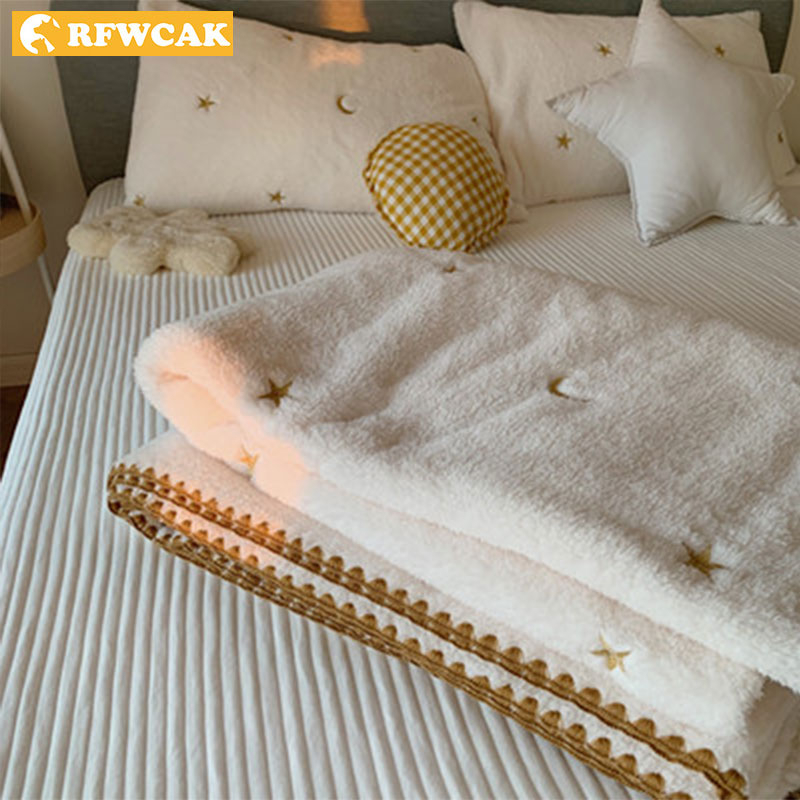 Four Seasons Can Use Plush Single-layer Warm Shawl Soft Office Travel Sofa Blanket Autumn And Winter Cover Your Feet For Leisure