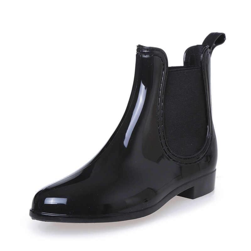 2019 neue Gummi Stiefel für Frauen PVC Ankle Regen Stiefel Wasserdicht Trendy Gelee Frauen Boot Elastische Band Regnerischen Schuhe Frau