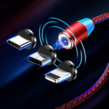 USB Magnetic Charging Cable Micro usb Type C LED Lighting For iphone X 8 7 6 Samsung S10 S9 Mobile Phone Quick Charge USB-C Wire