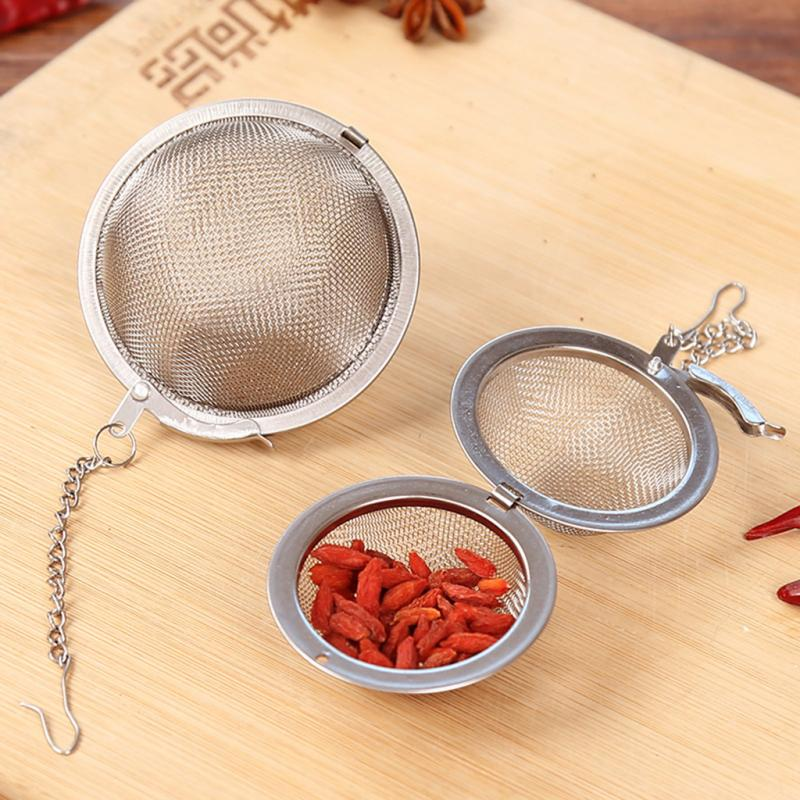 3 Size Optional Stainless Steel Seasoning Ball Strainer Mesh Solid Spice Residue Filter Tea Infuser Tools