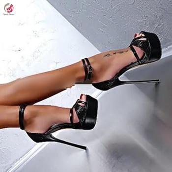 Original Intention New Stylish Black Platform Sandals Woman Thin High Heels Peep Toe Sexy Party Club Style Shoes Female 4-15