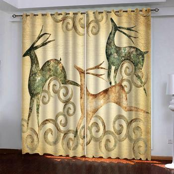 yellow curtains blackout curtains Customized size Luxury Blackout 3D Window Curtains For Living Room