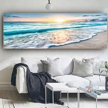 Seaside beach sunset sea, beautiful bridges, icebergs and lakes, sea scenery sailing boat landscape poster print decoration art