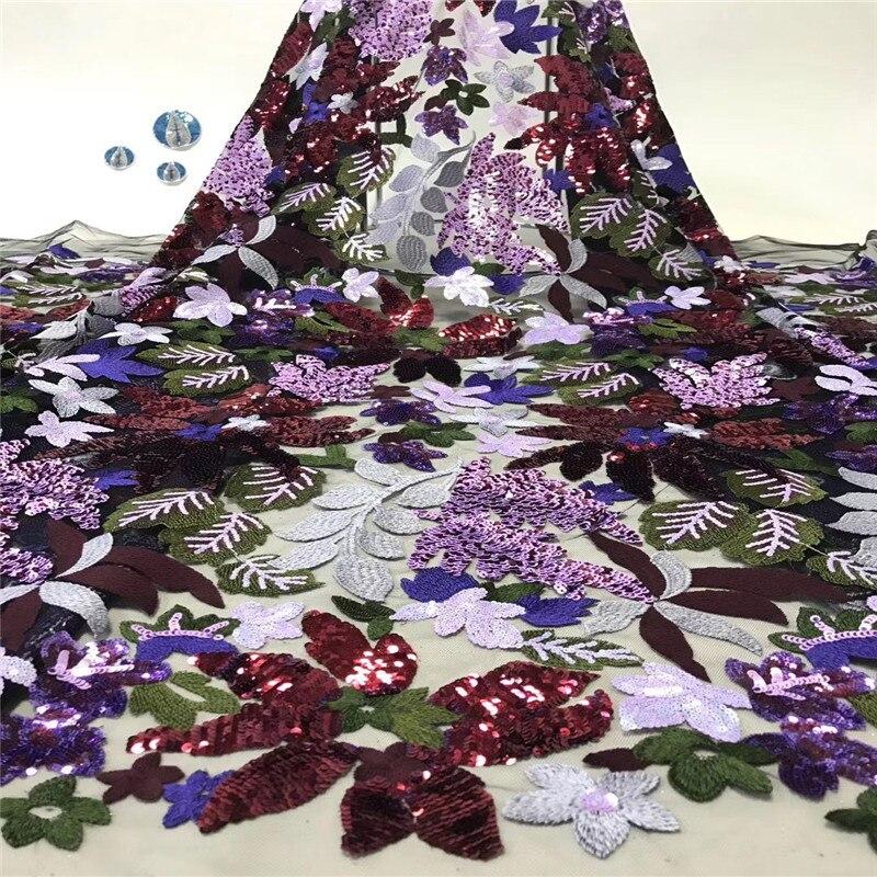 HFX ostatnie afryki cekiny koronki tkaniny pomarańczowy cekinami wieczór Party sukienki materiał indyjski Tissu czarna siatka tiul koronki netto w Koronka od Dom i ogród na  Grupa 3
