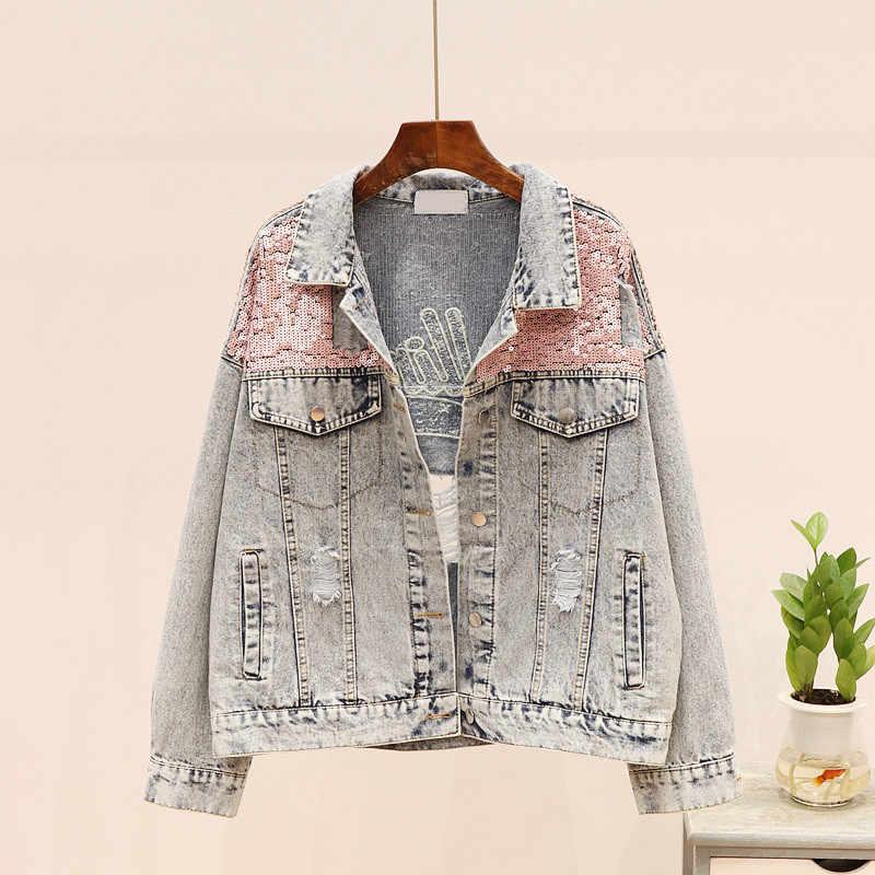 봄 한국 패션 홀 편지 스팽글 데님 자켓 여성 기본 코트 빈티지 느슨한 청바지 자켓 겉옷 여성 Streetwear