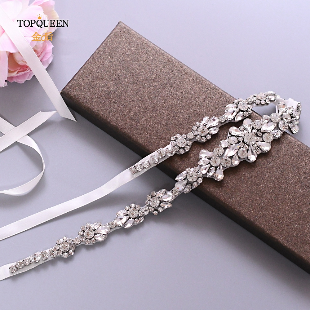 TOPQUEEN  Rhinestone Silver Belt Bridal Dress Belt With Bling Crystal Sash For Dresses Luxury Clear Diamond Applique Belt S392