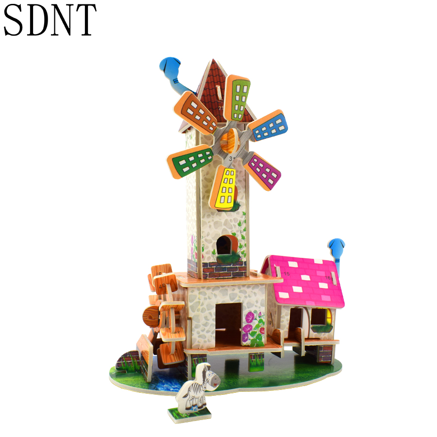 Windmill Cottage 3D Puzzle Toys For Kids Fairytale Building Paper Model Learning DIY Puzzles Toy Game Educational Hobbies Gifts