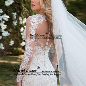 Image 4 - Vestido de noiva de mangas compridas, transparente, de casamento, apliques de renda, robe de casamento 2020