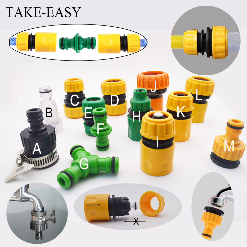 Gardening Accessories Outdoor 3/4 Car Garden Hose Adapter Quick Connect Repair Tubing Connector Tap Connection Tube Fittings 1/2 title=