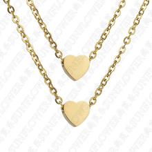 Eleple Double Heart Necklaces for Women Yellow Gold Color Stainless Steel Necklace Dropshipping Wedding Anniversary Jewelry
