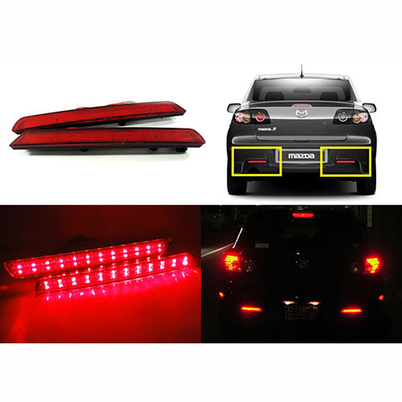 2x 24 LED Rear Bumper Reflectors Tail Brake Stop Running Turning Light For <font><b>Mazda</b></font> <font><b>3</b></font> 04-09 Parking Warning Night Driving Fog Lamp image