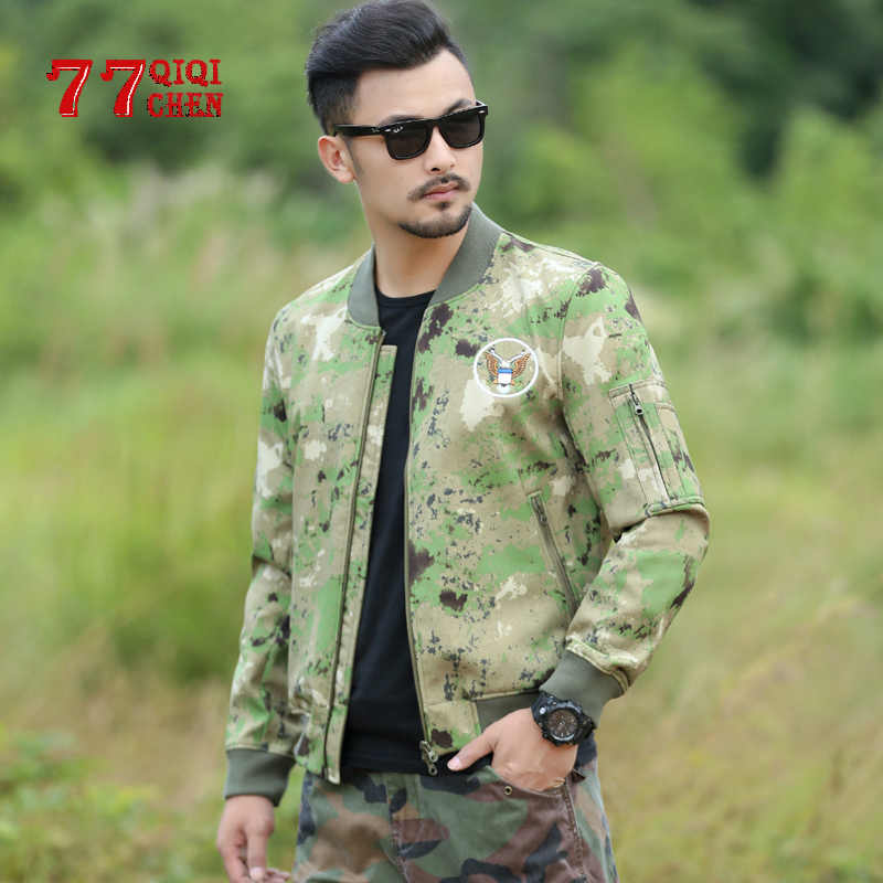 Mens Cotton Camouflage Air Force Military Army Combat Jean Jacket Outdoor Coat
