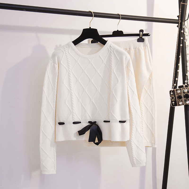 High-end Ladies Knitted Skirt Suit Female 2019 Autumn and Winter Sashes Bow tie Long-sleeved O-neck Sweater and Split Skirt Sets 34