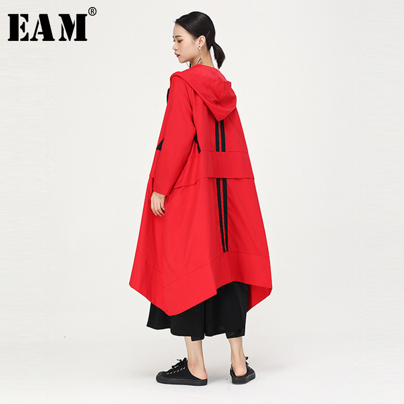 [EAM] Women Multicolor Striped Big Size Long Trench Hooded Long Sleeve Loose Fit Windbreaker Fashion Autumn Winter 2019 1B686