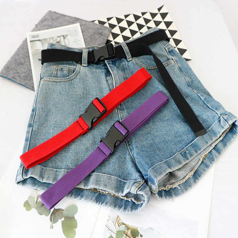 Cinturón de lona de moda informal para mujer, cinturones femeninos con hebilla de plástico Harajuku, correas largas de Color sólido para mujer