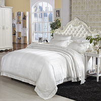 Cream White Mulberry Silk Cotton Luxury Wedding Bedding set Ultra Soft 4Pcs King size Jacquard Duvet cover Cotton Bed sheet set