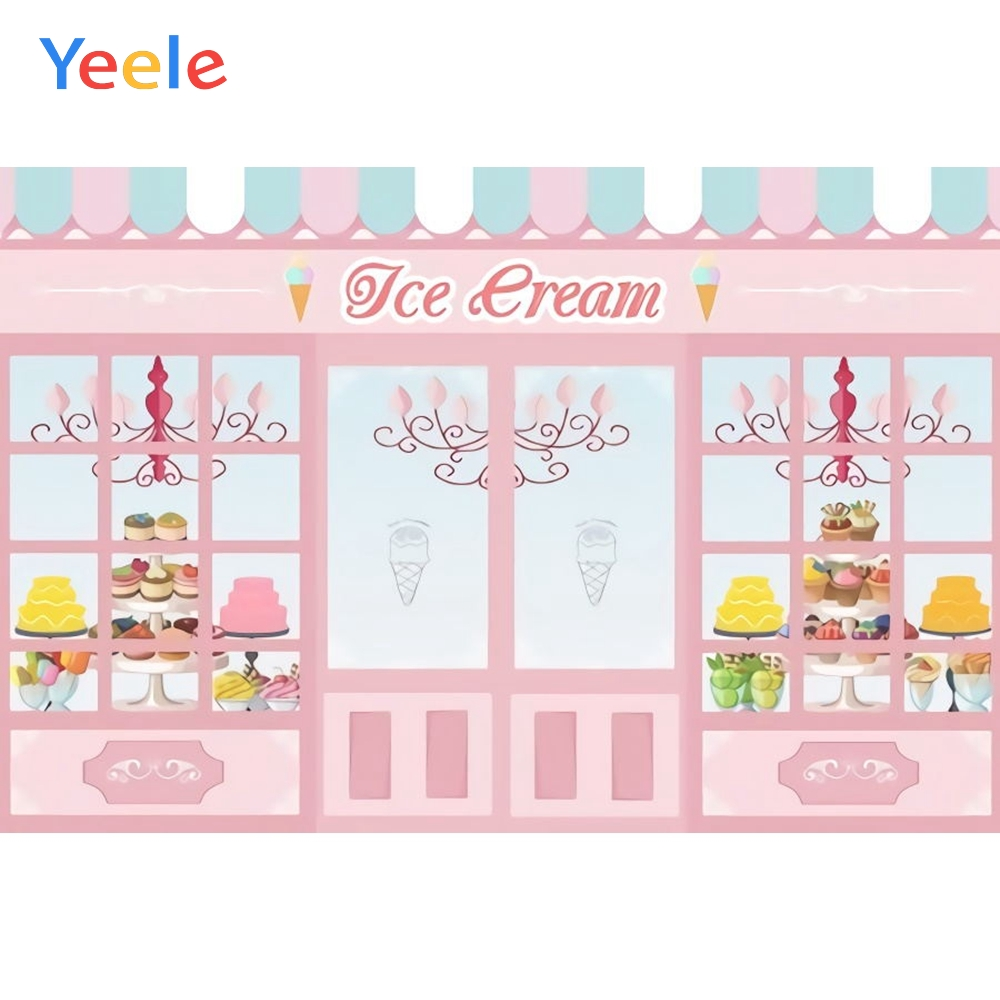 YEELE Ice Cream Backdrop 5x3ft Ice Cream Flavor in Cones Photography Background Kids Summer Birthday Party 1st Birthday Cake Table Decor Banner Son Daughter Artistic Portrait Photo Booth Props