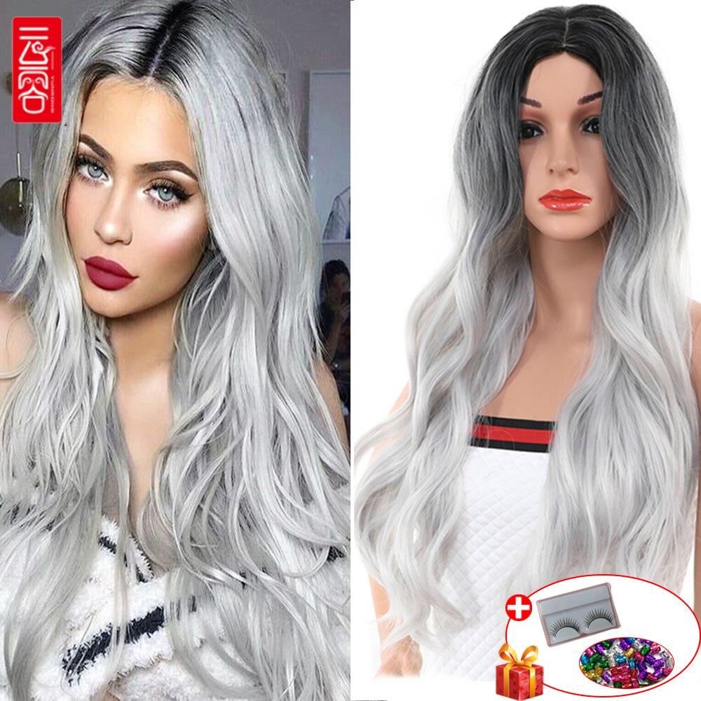 Perruque de séparation moyenne synthétique pour les femmes avec le cuir chevelu artificiel longue vague de corps Ombre 1B/cheveux gris fibre synthétique haute température
