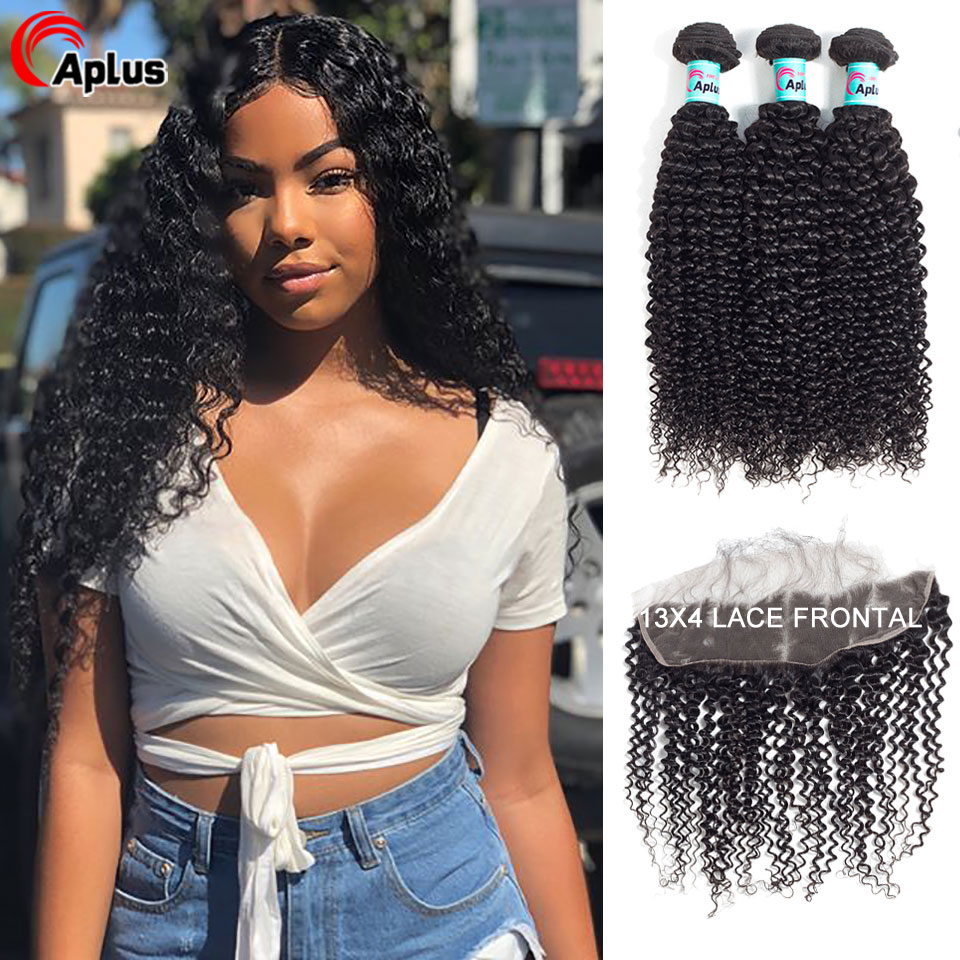 Human Hair Bundles With Frontal Kinky Curly Mongolian Remy Hair Bundles With Lace Closure Free Middle Three Part 150% Density