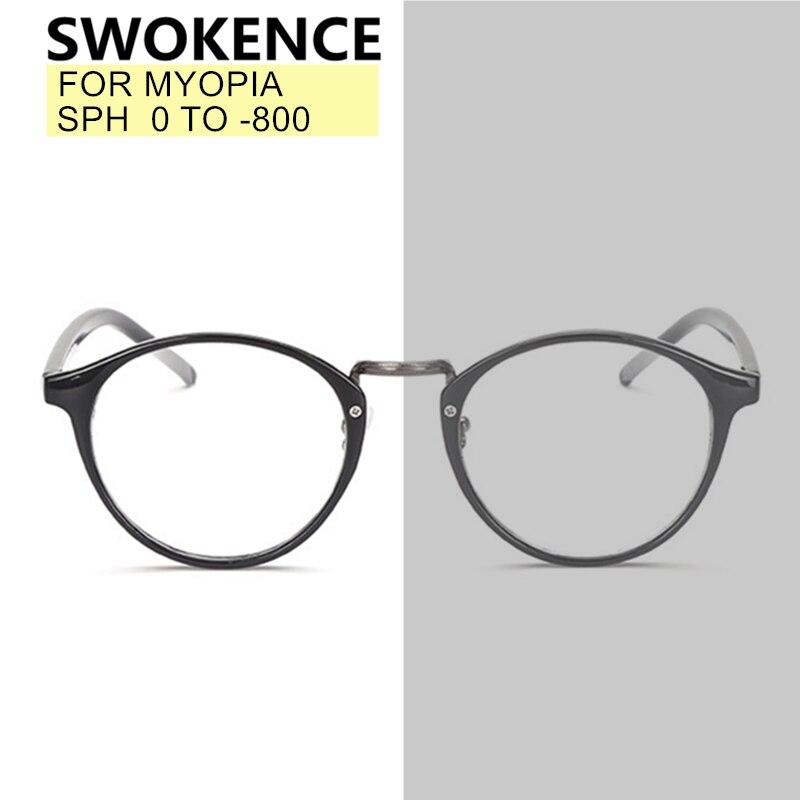 SWOKENCE SPH 0 To -8 Myopia Prescription Glasses Custom-made Men Women Round Frame Photochromic Spectacles Nearsighted WP005