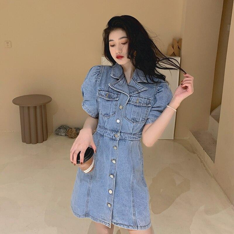 Plus Size Women Fashion Denim Dress Summer Casual New Ladies Short Puff Sleeve High Quality Slim Single Breasted Denim Dress